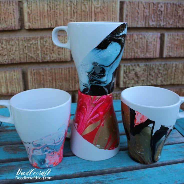 Marbled Dipped Mugs Mugs Marble Mugs Diy Gifts