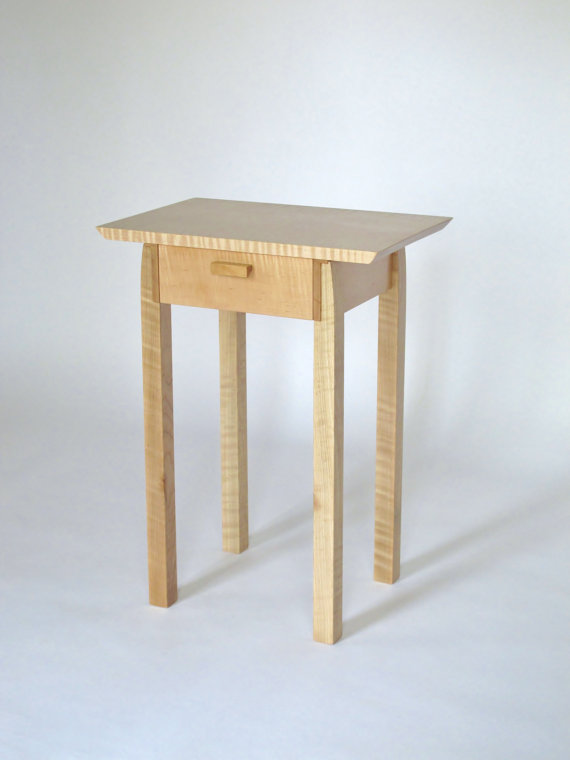 Narrow Nightstand With Drawer Tiger Maple Wood Table With Cherry