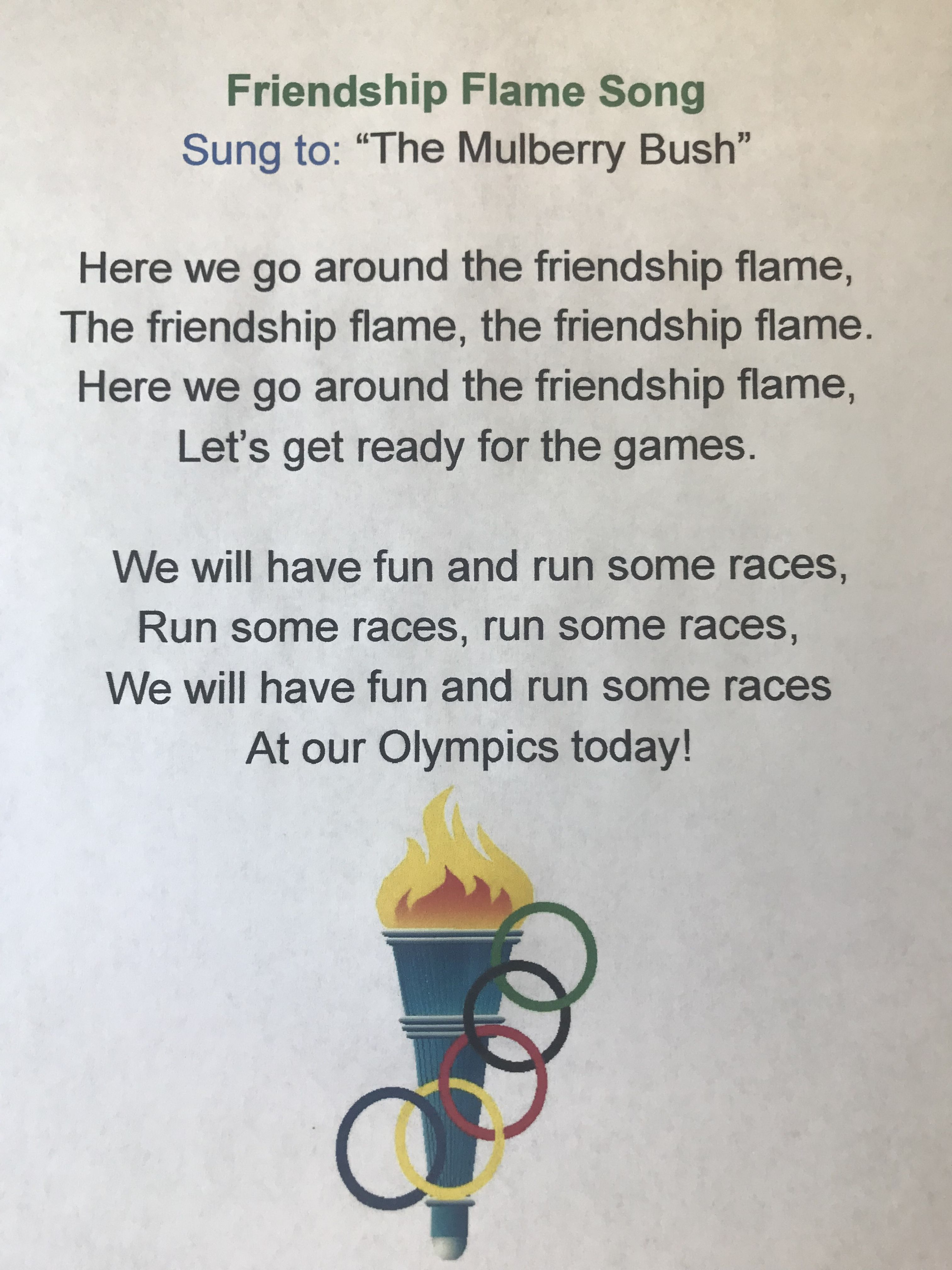 Olympic Theme Preschool Song In