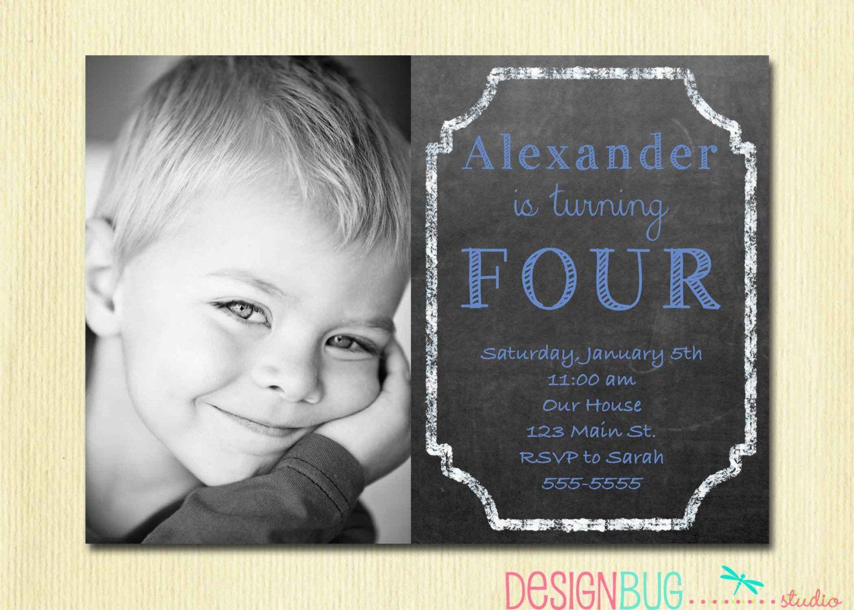 Birthday Baby Boy Invitation - 1, 2, 3, 4, 5 year old - 1st Birthday ...