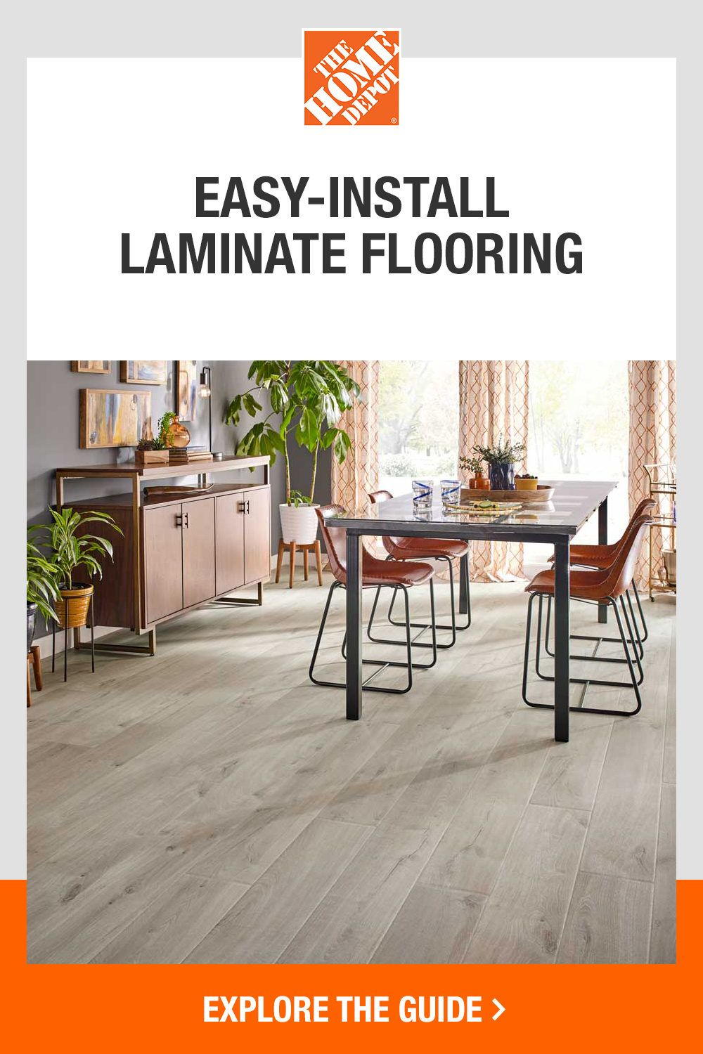Upgrade your home with easy-to-install laminate flooring from The Home Depot. Laminate flooringis an ideal project for DIYers and can easily lay in every room of your home. Because this flooring option requires very little tools, installation is a quick and efficient process. Tap here for the full how-to install guide from The Home Depot.