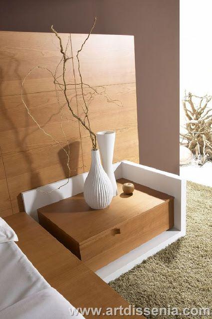 Dormitorio matrimonial en madera color blanco y marr n for Diseno de dormitorio blanco