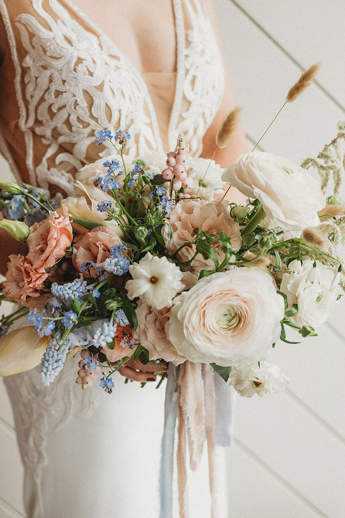 Dusty Blue and Blush Romance #flowerbouquetwedding