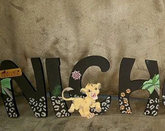 Custom Wooden Letters Lion King Room Decor Guard Kids Wall Name Nursery The