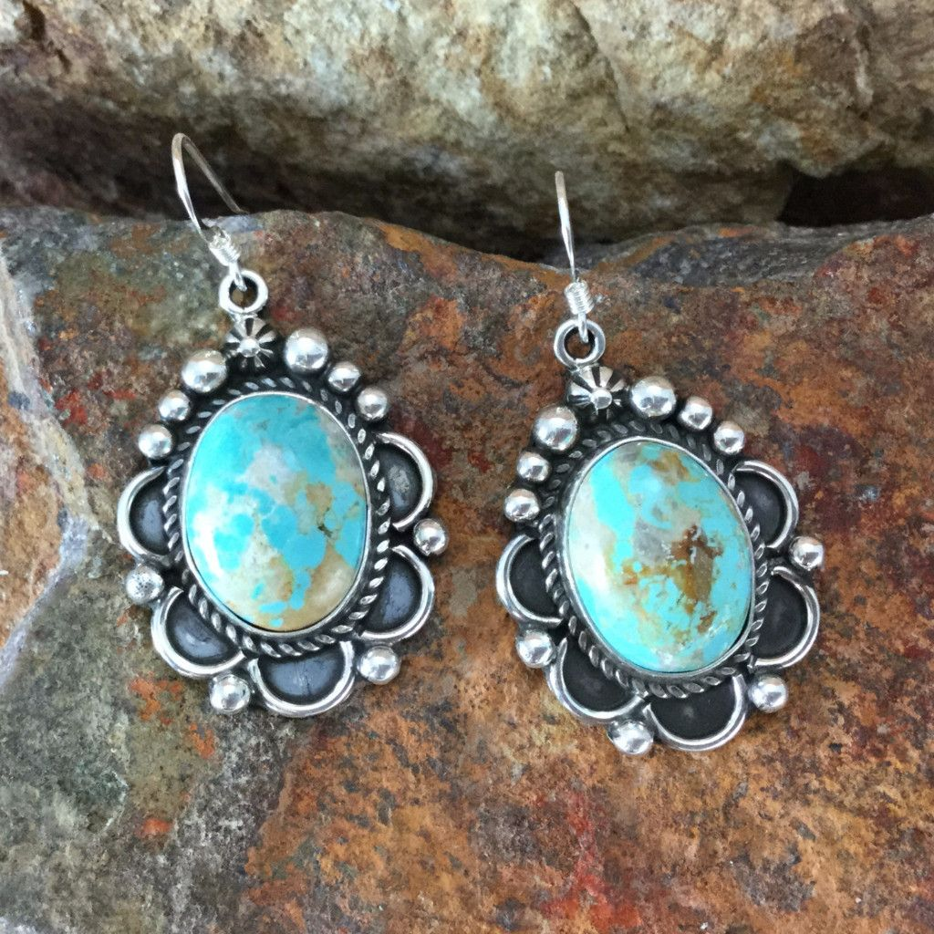 Royston Turquoise Sterling Silver Earrings by D Delgarito