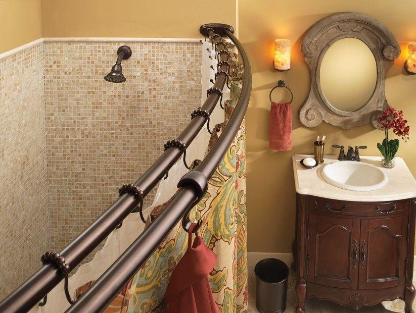 Old World Bronze Adjustable Curved Shower Rod In 2020 Shower