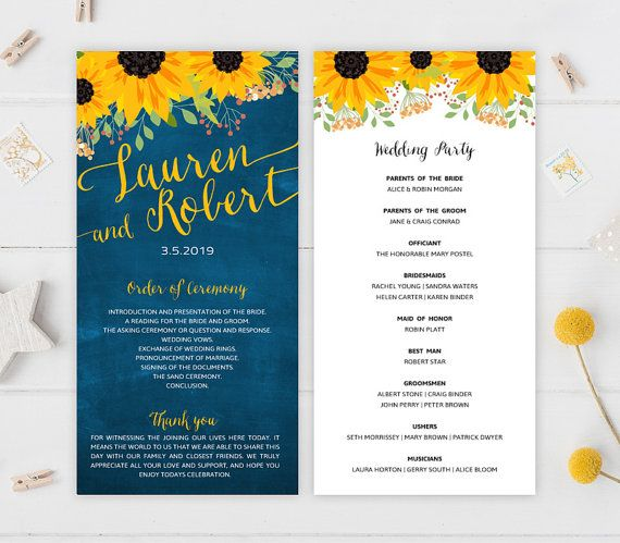 Sunflower wedding programs PRINTED Blue chalkboard programs for