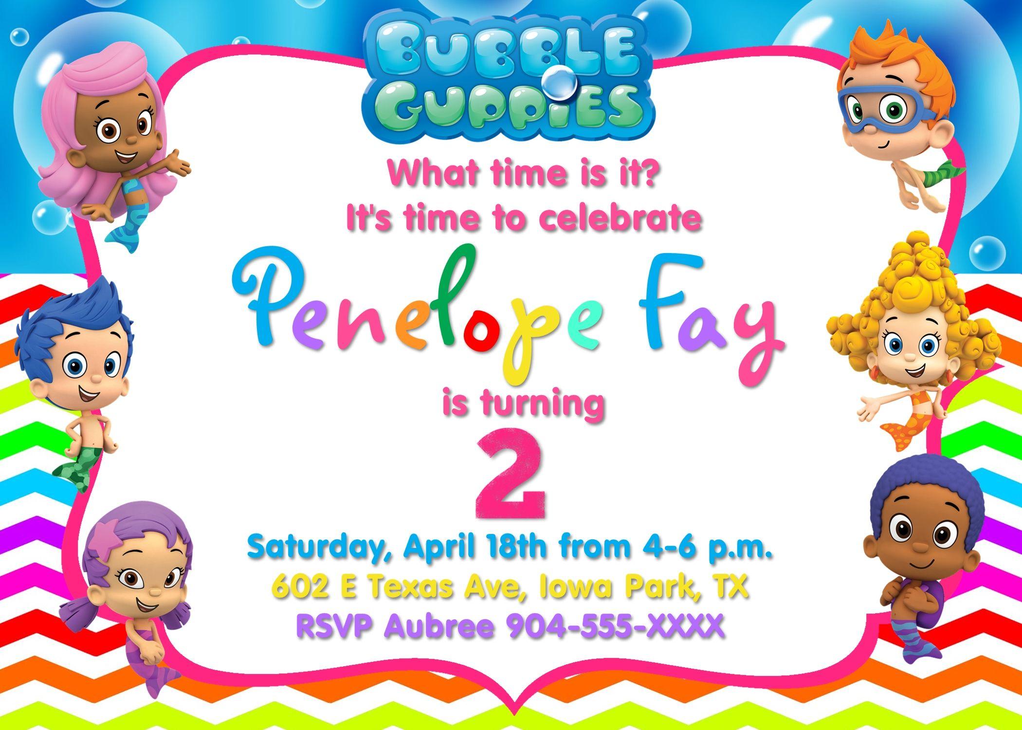 Colorful chevron Bubble Guppies invitation in 4x6. Contact me via ...
