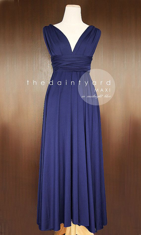 Maxi Midnight Blue Bridesmaid Convertible Infinity Multiway Wrap Transformer Dress Navy Full Length Also Beautiful In This Olive Colour