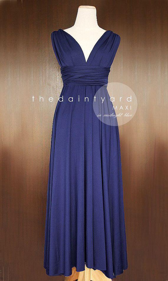 MAXI Midnight Blue Bridesmaid Convertible Infinity Multiway Wrap ...