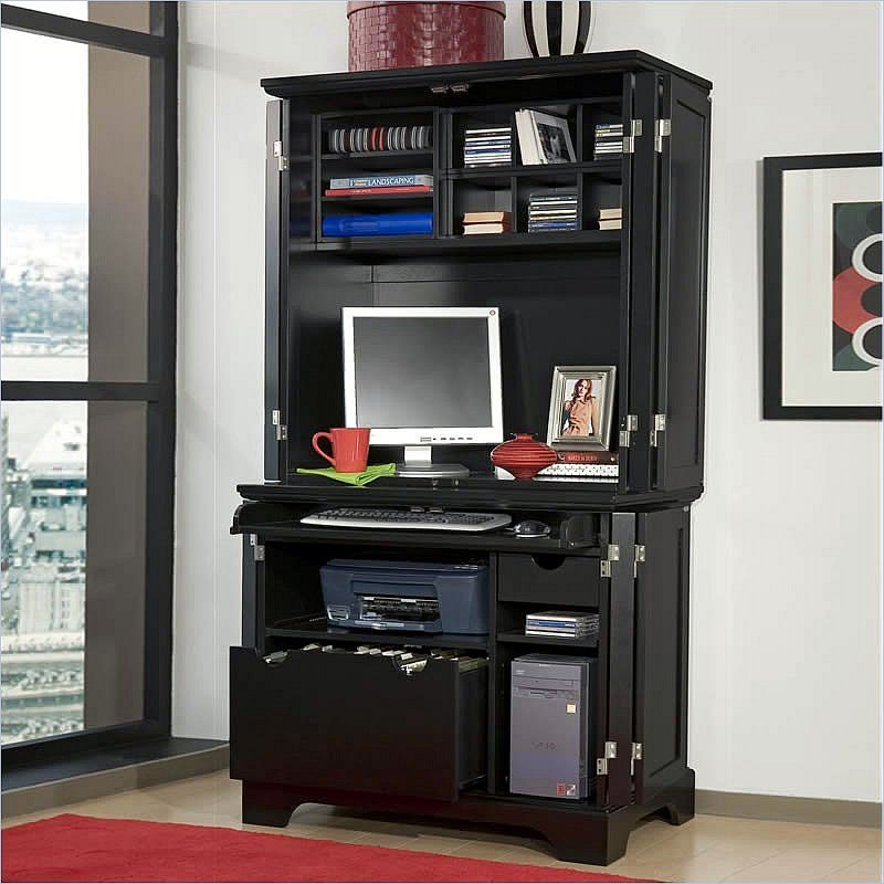 family room desk with hutch furniture bedford cabinet hutch in ebony by home styles