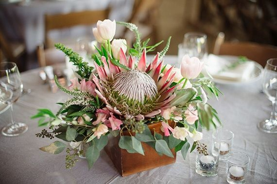 Some More Wood Box Inspiration Protea Wedding Flower Decorations Protea Centerpiece