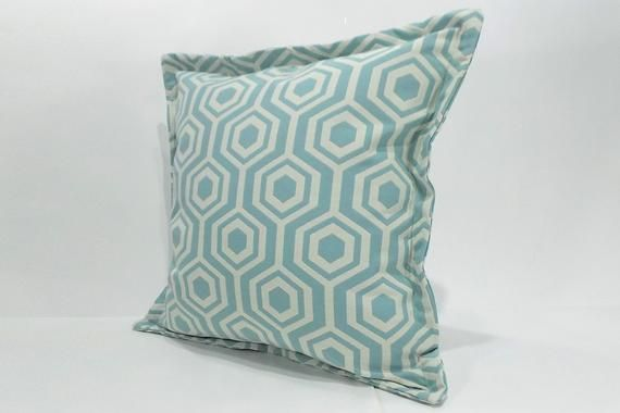 Incredible Light Blue Geometric 18 Square Pillow Cover Decorative Gmtry Best Dining Table And Chair Ideas Images Gmtryco