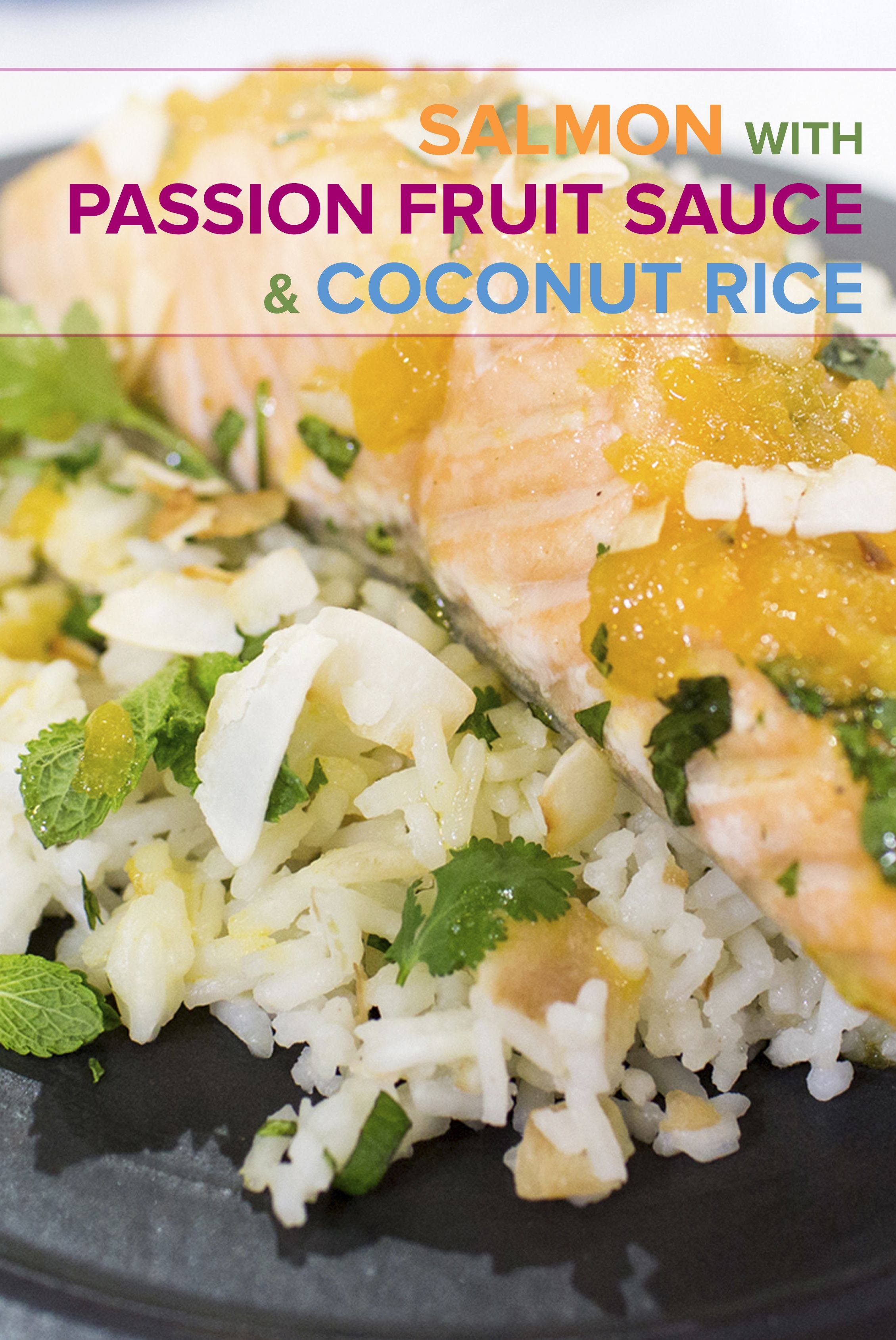 Salmon with Passion Fruit Sauce and Coconut Rice