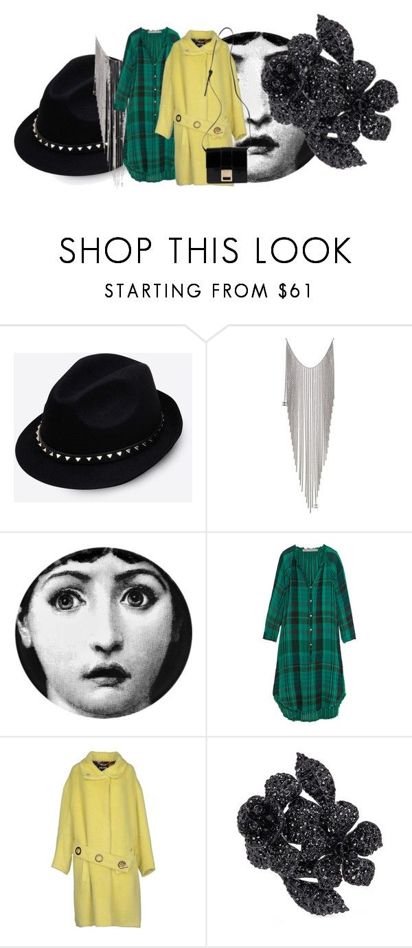 """Untitled #2766"" by misnik ❤ liked on Polyvore featuring Valentino, Chanel, Fornasetti, Raquel Allegra, Just Cavalli and Versace"