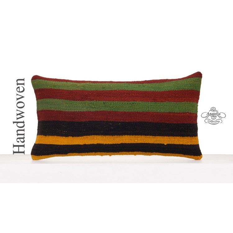 Striped Anatolian Kilim Collection Pillow Interior Decoration 12x24 Hand Woven Pillowcase Ethnic Decorative Sofa Couch