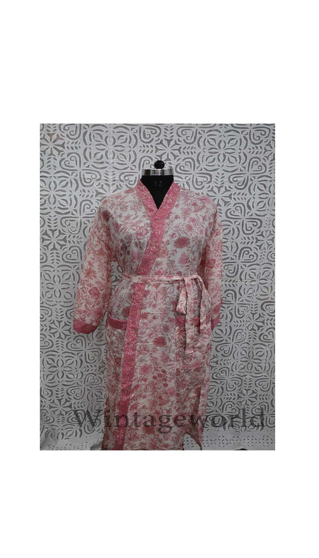 Azure Blue and Stone Grey Sari Silk Kimono Robe Christmas gift Dressing gown Silk Robe Vintage silk kimonoBathrobeJapanese clothing
