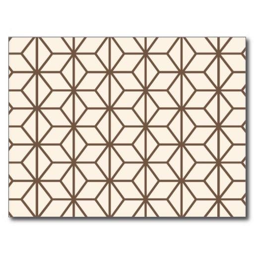 Brown And Beige Geometric Art Deco Pattern Postcard Zazzle Com
