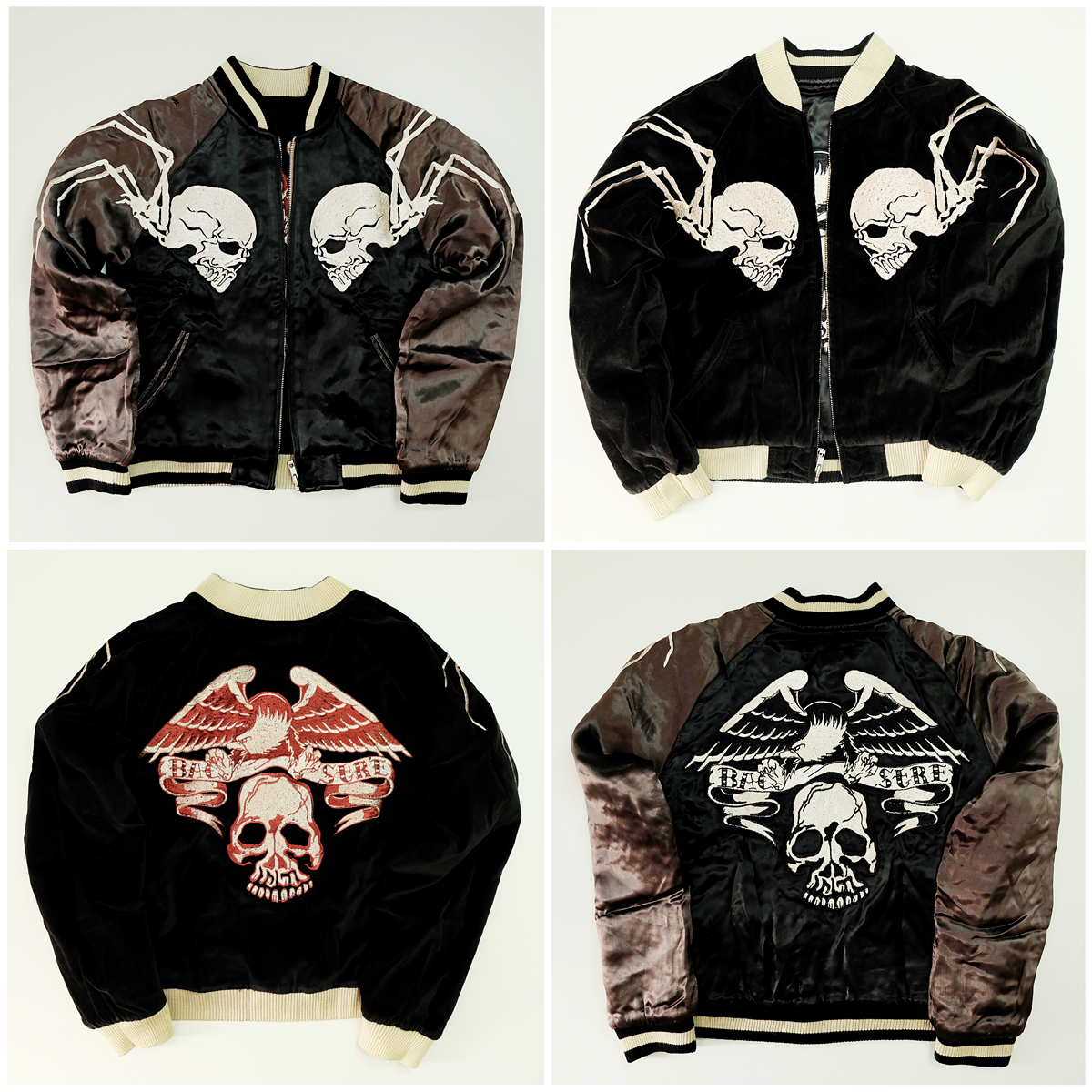 Vintage Sukajan Skull Embroidery Jacket Embroidery Souvenirs Hoodie Punk Rock Jacket f3g61