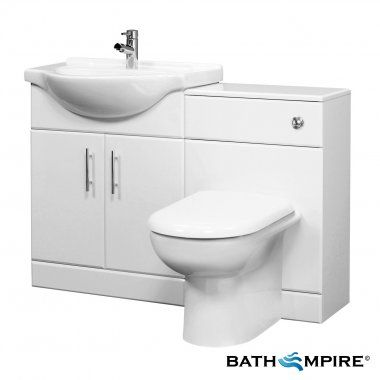 1015 Mm Vanity Suite Unit With Toilet Basin Gloss White Tudelia Bathempire Bathroom Vanity Units Fitted Bathroom Furniture Fitted Bathroom