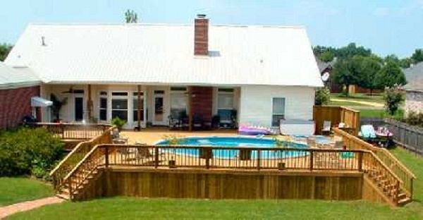 Semi Inground Pool Ideas semi inground pool designs Semi Inground Pools For Your Magnificent Backyard White Roof And Wall Wooden Floor Circle Swimming