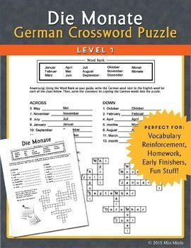 "Die Monate German Months crossword puzzle worksheet focuses on the German names for the months of the year only, making this worksheet very manageable when introducing this new vocabulary to beginning German students. A small paragraph in German about the months is included for reading aloud, translation, and discussion (the paragraph ends with the question ""What is your favorite month?"")."