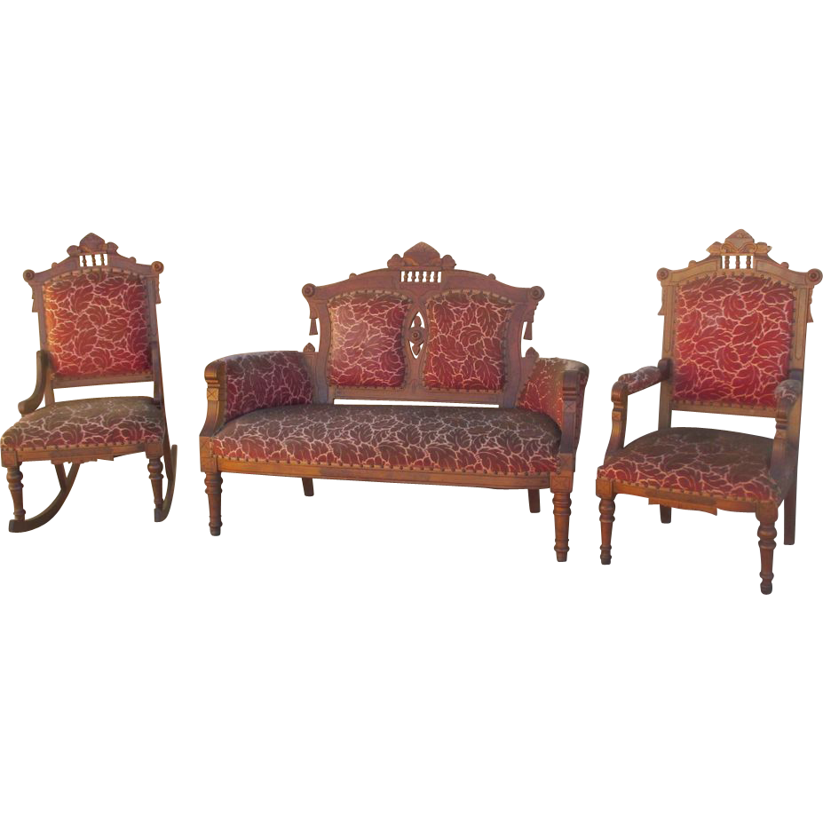 Antique Eastlake Victorian Settee Sofa and Two Chairs Antique Furniture - Antique Eastlake Victorian Settee Sofa And Two Chairs Antique