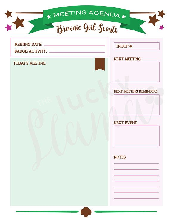 Printable Brownie Girl Scout Meeting Agenda  Brownies