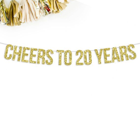Cheers To 20 Years Glitter Banner 20th Anniversary Birthday Party Decorations Banne Birthday Party Decorations Glitter Banner 40th Birthday Party Decorations