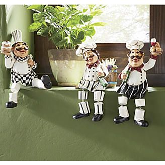 3 Piece Sitting Chef Set Chefs Kitchen Theme Chef Kitchen Decor Italian Chefs Kitchen
