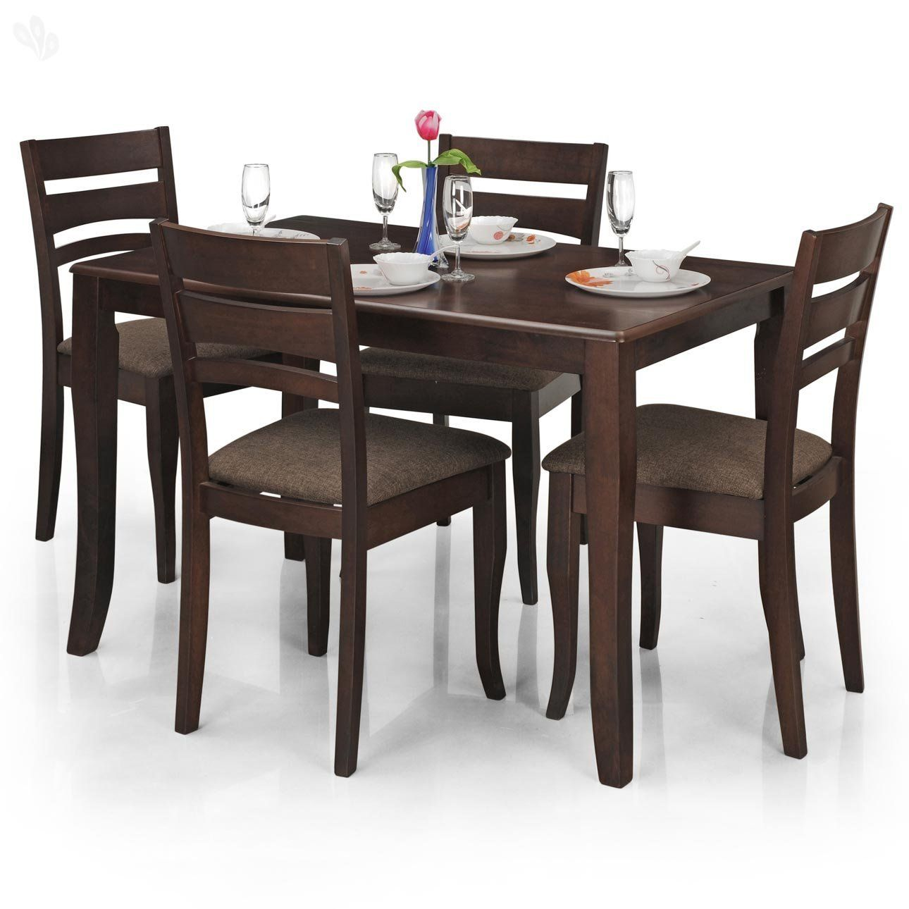 Dining Table Set royal oak victor four seater dining table set (walnut): amazon.in