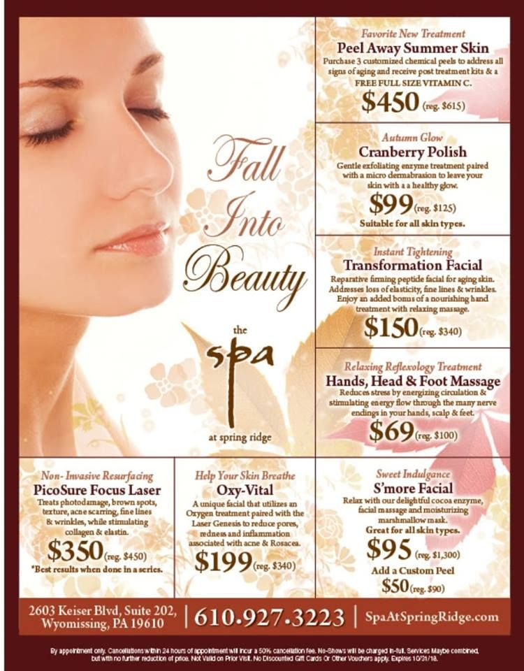Fall Spa At Spring Ridge Specials Medspa Wyomissing Spa Treatyourself Skincare Spaspecials Fall Spa Specials Med Spa Marketing Medical Spa Marketing
