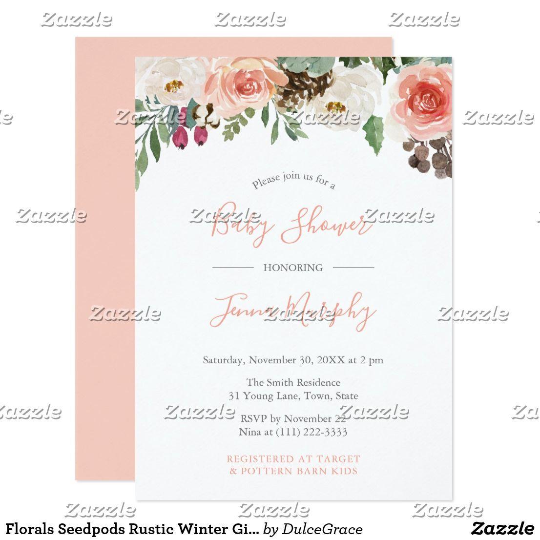 **Rustic Winter Baby Shower** Florals Seedpods Rustic Winter Girl Baby Shower Invitation   Ba...