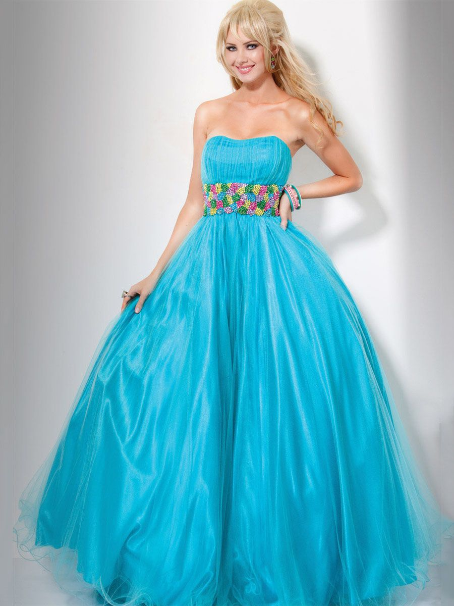 Aline turquoise strapless ruffed prom dress with embellished trim