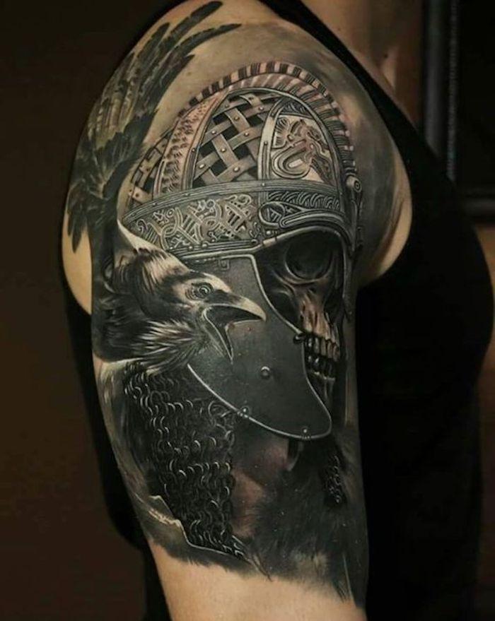 1 Viking Tattoos Man Arm Upper Arm Tattoo Tattoo Helmet Skull Viking Tattoos For Men Viking Warrior Tattoos Viking Skull