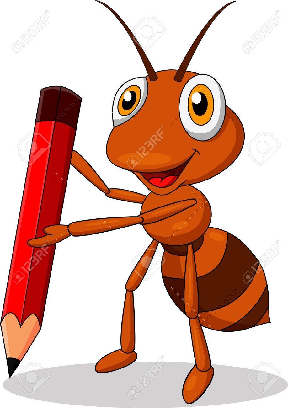 Cute Ant Cartoon With Red Pencil Kitten Cartoon Cartoon Animals Cute Baby Monkey