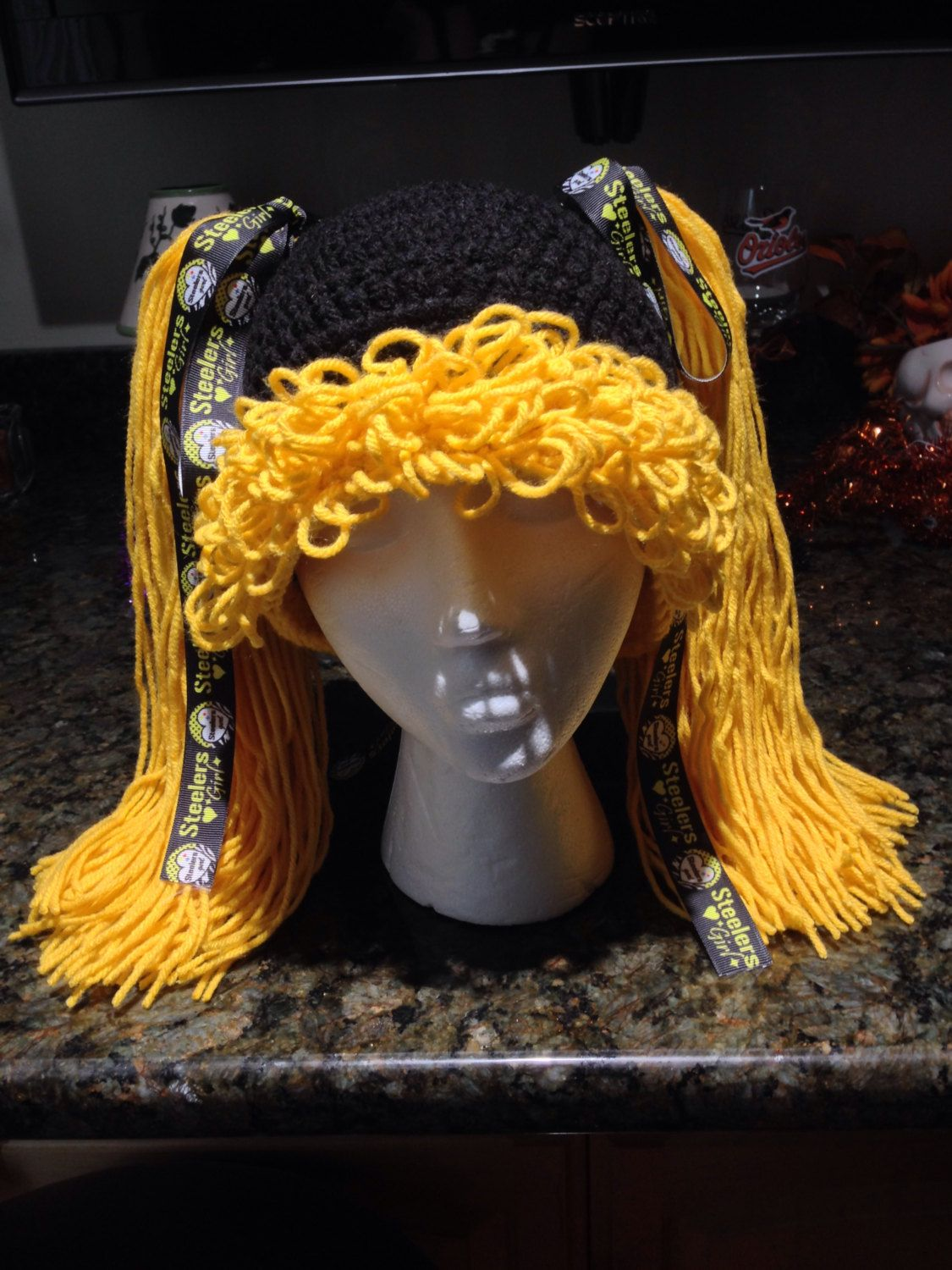 Pittsburgh Steelers Crochet Hat With Pigtails Black and Gold With ...