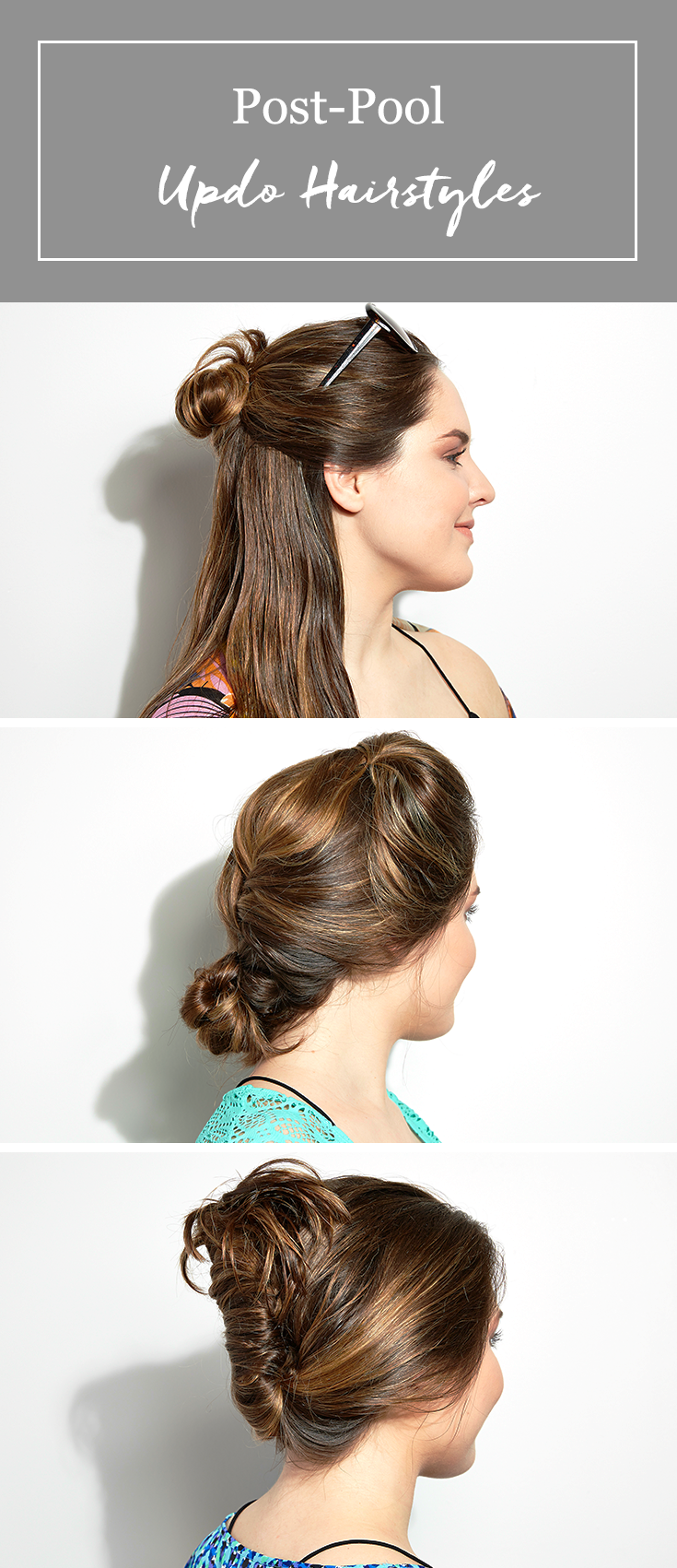 3 easy post-pool (or beach) hairstyles. tutorials and ideas for