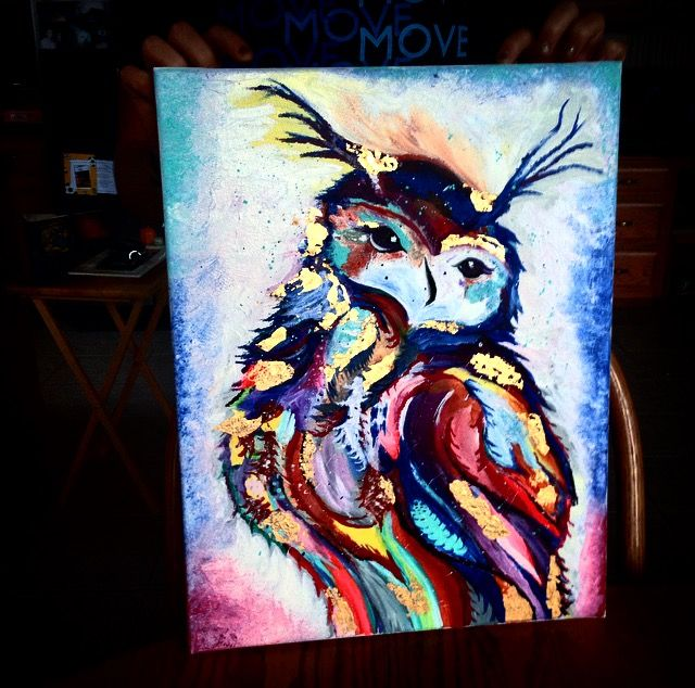 Gold Leaf Owl Painting