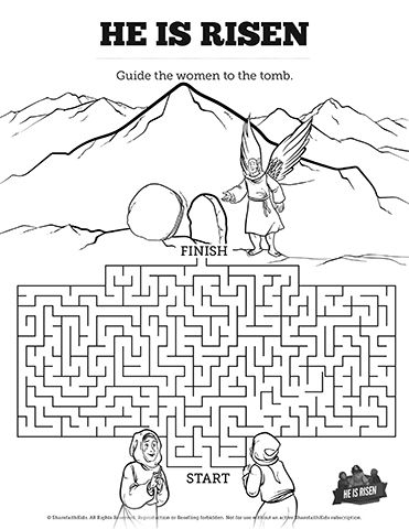 Matthew 28 He Is Risen Easter Bible Mazes: Use this
