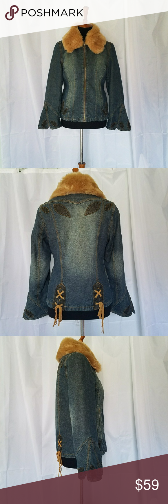Embellished jean jacket w faux fur collar faux fur collar fur