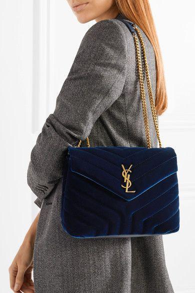 Saint Laurent Loulou Small Quilted Velvet Shoulder Bag