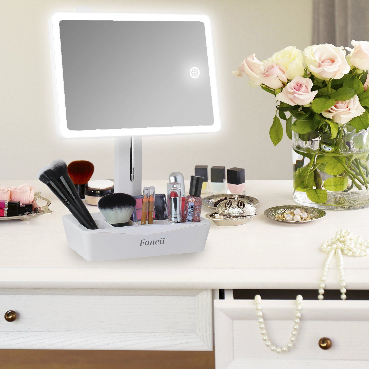 Fancii Led Lighted Large Vanity Makeup Mirror With 10x Magnifying Mirror Dimmable Natural Light Touch Screen Dua Magnifying Mirror Makeup Vanity Makeup Mirror