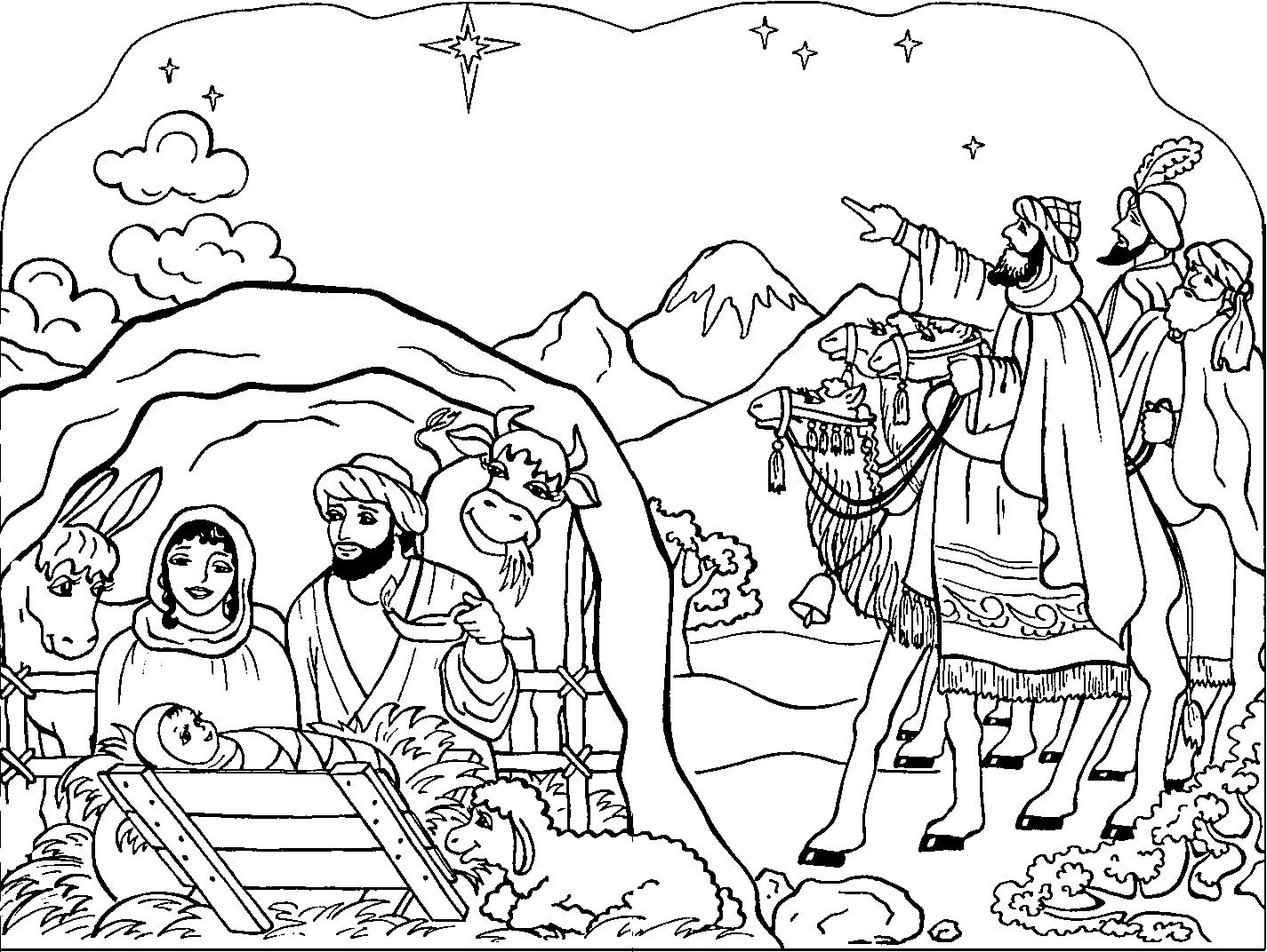 Christian Coloring Pages For Kids Christmas Nativity Coloring Pages