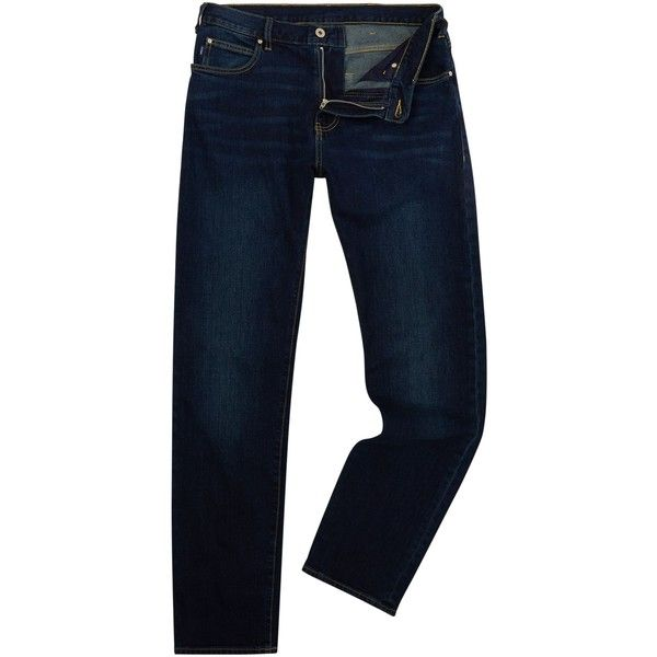 3f6a8829dd Armani Jeans J45 Tapered Dark Wash Jeans ( 150) ❤ liked on Polyvore  featuring men s
