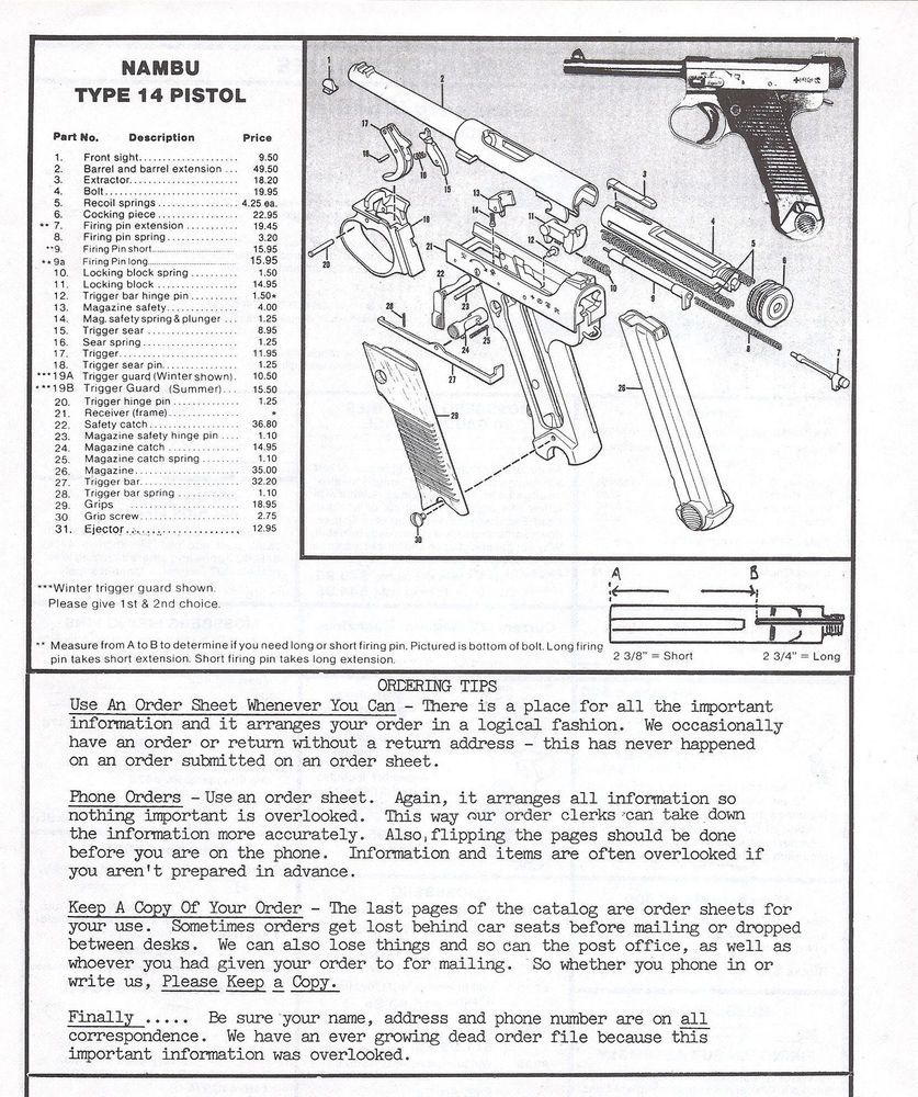 1995 nambu type 14 pistol exploded view parts list