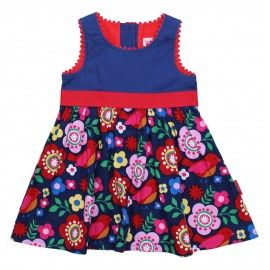 Toby Tiger. Pretty cord pinafore dress in vibrant bird and flower design.  A lovely bird cord party dress with red tie backs and ric rac trim. Sizes from 6-12m to 5-6years. laffkidsclothes.co.uk