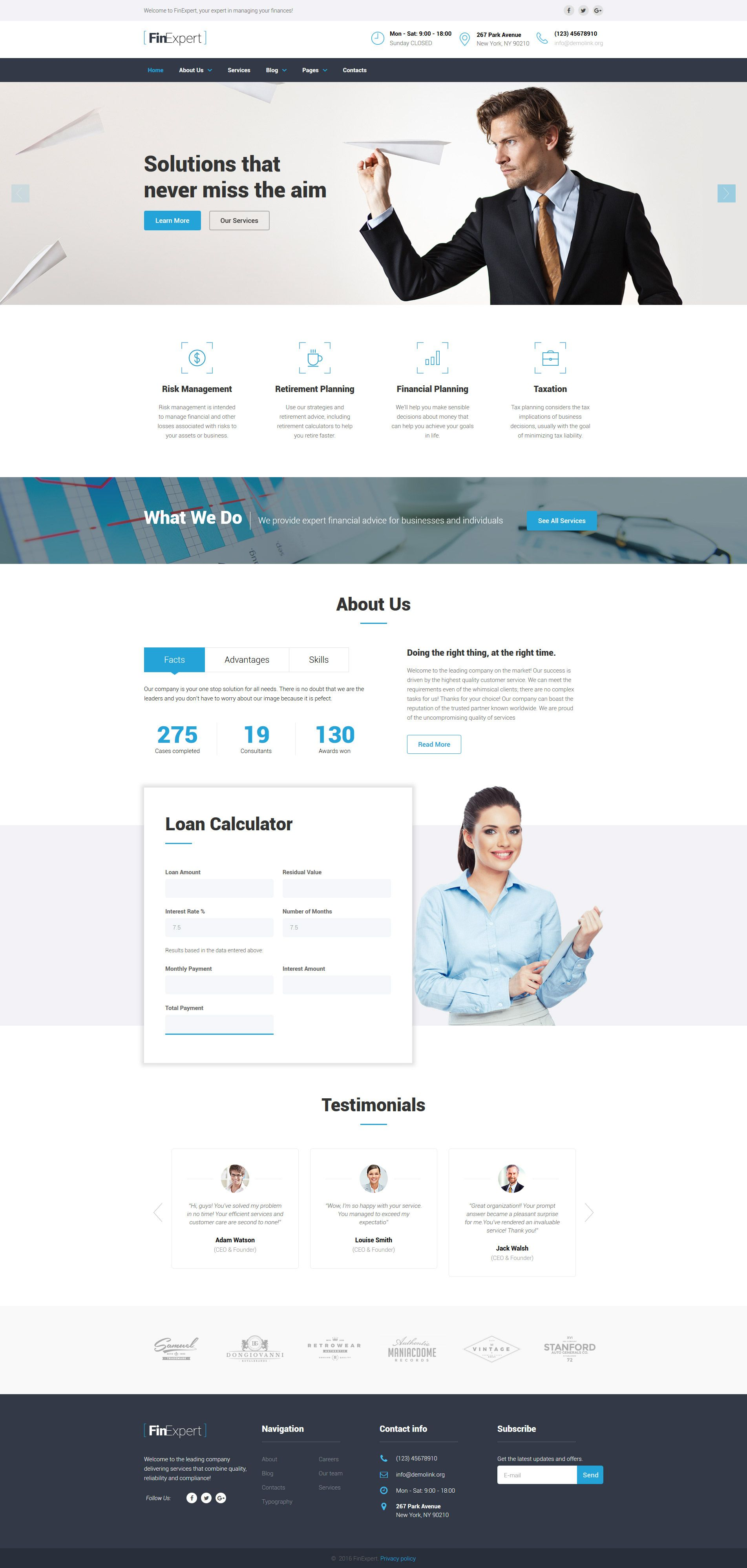 Parallax Website Template Financial Advisor Responsive Website Template  Httpwww