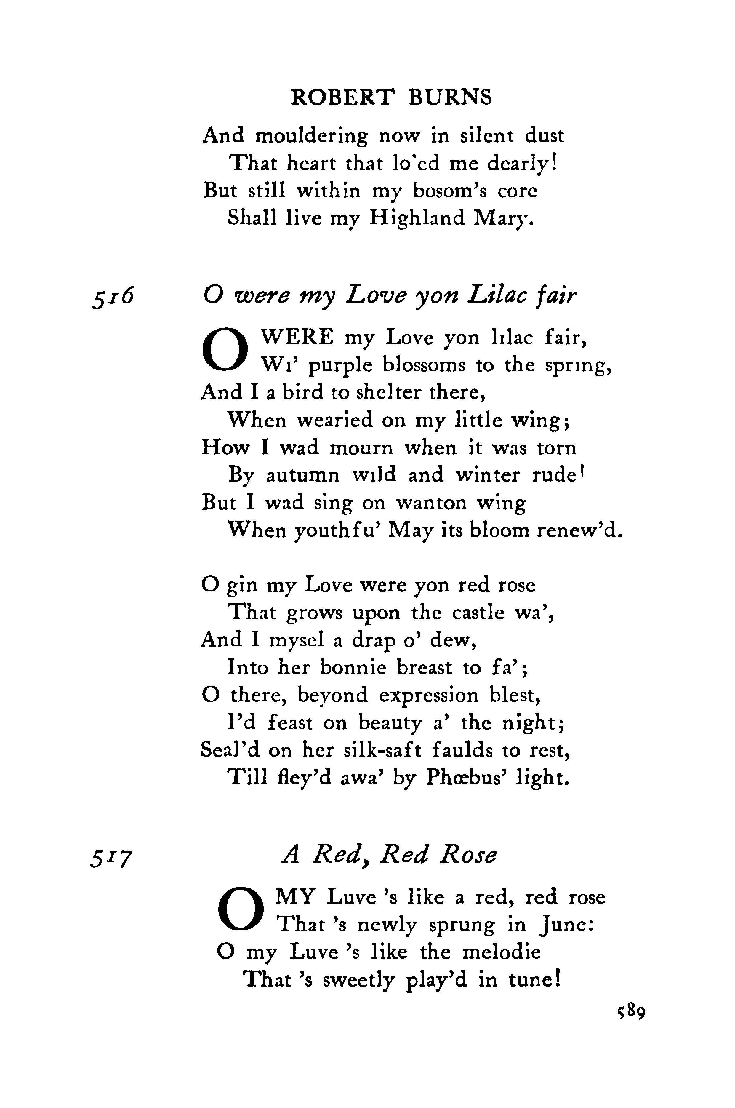 Robert Burns O Were My Love Yon Lilac Fair Meaning Google Search