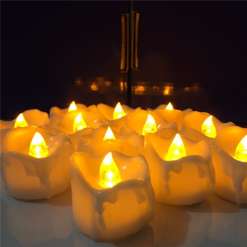 6pcs yellow flicker battery candles plastic led candles flameless